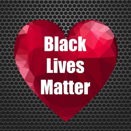 Black Lives Matter Banner with Red Heart for Protest on Perforated Background. Vettoriali