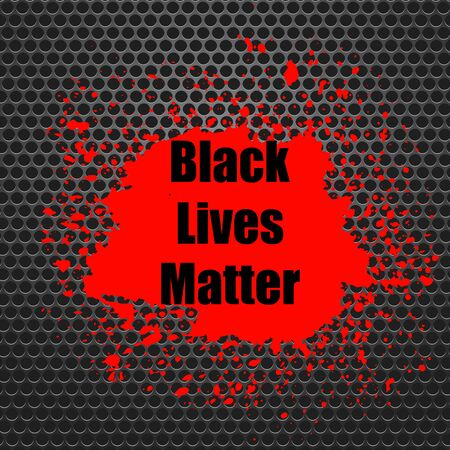 Black Lives Matter Banner with Red Blob for Protest on Grey Perforated Background. Vettoriali