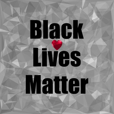 Black Lives Matter Banner with Red Heart for Protest on Grey Background. Archivio Fotografico - 149625575