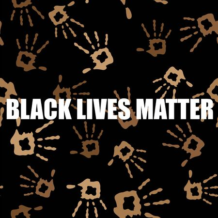 Black Lives Matter Banner with Hands for Protest on Black Background. Illustration