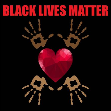 Black Lives Matter Banner with Red Heart for Protest on Black Background.