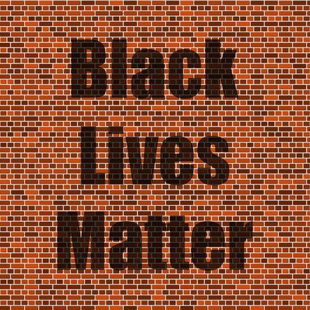Black Lives Matter Banner for Protest on Red Brick Wall Background. Archivio Fotografico - 149625588