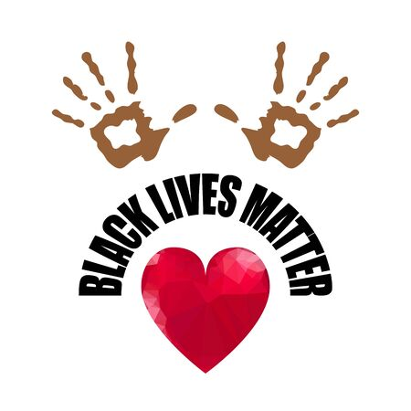 Black Lives Matter Banner with Red Heart for Protest on White Background. Archivio Fotografico - 149625665