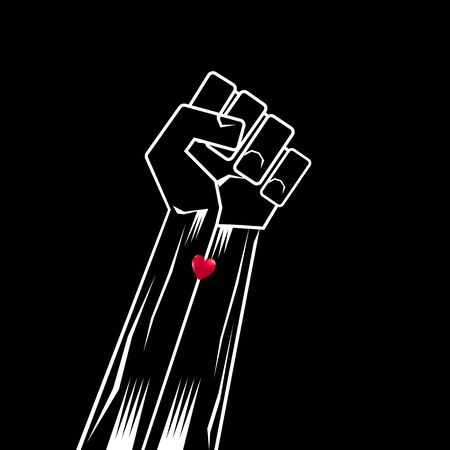 Fist Raised Up. Black Lives Matter Banner for Protest on Dark Background. Human Hand. Stop Violence to Black People.
