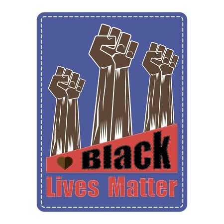 Fist Raised Up. Black Lives Matter Banner for Protest on Blue Background. Human Hand. Stop Violence to Black People. Archivio Fotografico - 149625664