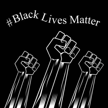 Fist Raised Up. Black Lives Matter Banner for Protest on Dark Background. Human Hand. Stop Violence to Black People. Archivio Fotografico - 149625666