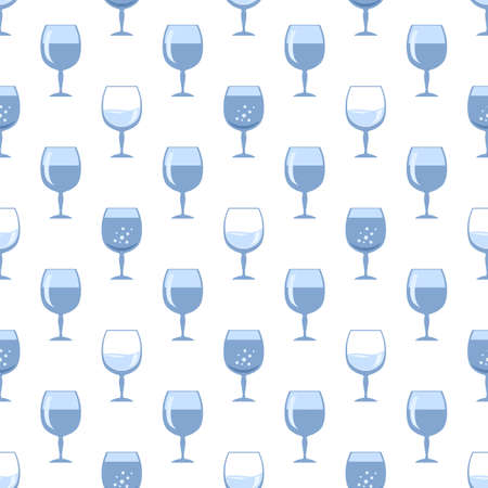 Blue Glass of Wine Seamless Pattern Isolated on White Background. Wineglass Symbol. Glassware Concept. Liqueur Cup. Glassware Silhouettes. Drink Icon.