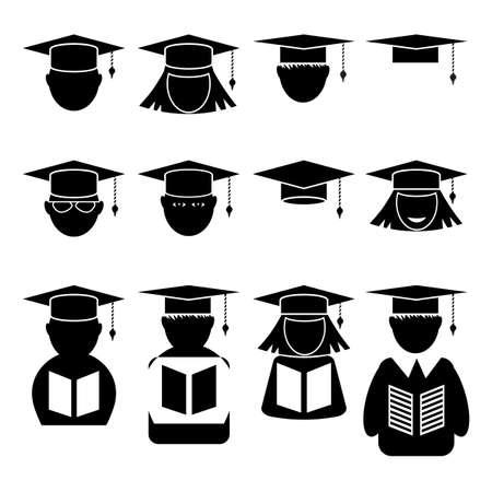 Student Icon Set Isolated on White Background.