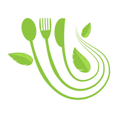 Food Icon for Cafe. Fork Spoon Knife Logo Design Isolated on White Background.