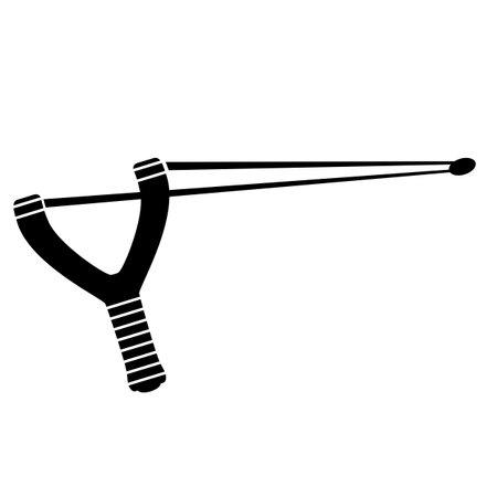 Slingshot Weapon Icon Isolated on White Background.