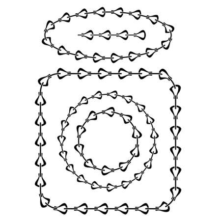 Set of Different Chain Frames Isolated on White Background.