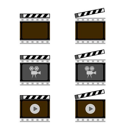 Set of Movie Icon with Slapstick Isolated on White Background. 矢量图像