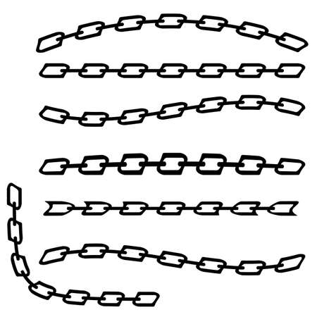 Set of Different Chain Isolated on White Background.