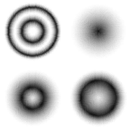 Set of Different Halftone Circles. Set of Dots. Dotted Texture on White Background. Overlay Grunge Template. Distress Linear Design. Fade Monochrome Points. Pop Art Backdrop.