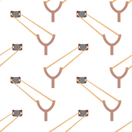 Slingshot Weapon Icon Seamless Pattern Isolated on White Background.