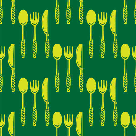 Food Seamless Pattern for Cafe. Fork Spoon Knife Logo Design Isolated on Green Background.
