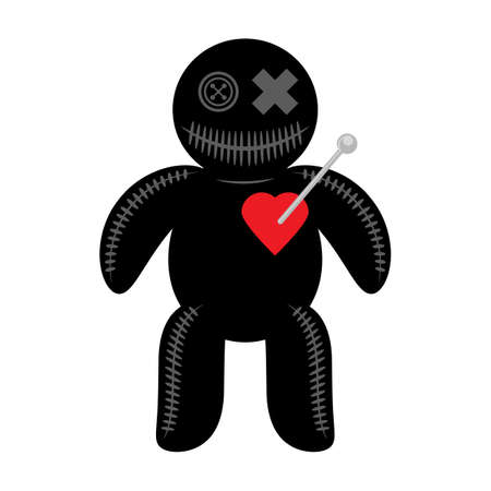 Woodoo Doll with Red Heart Isolated on White Background. 矢量图像