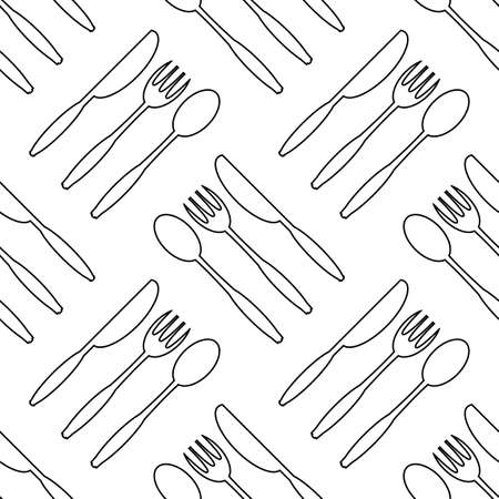 Food Seamless Pattern for Cafe. Fork Spoon Knife Logo Design Isolated on White Background.
