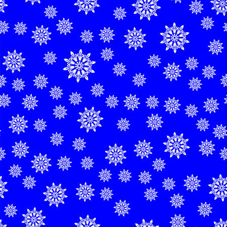 Snowflakes Seamless Pattern on Blue Background. Winter Christmas Decorative Texture.