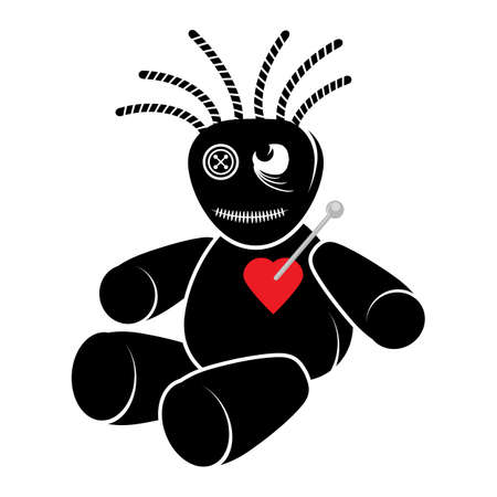 Voodoo Doll with Red Heart Isolated on White Background. 矢量图像