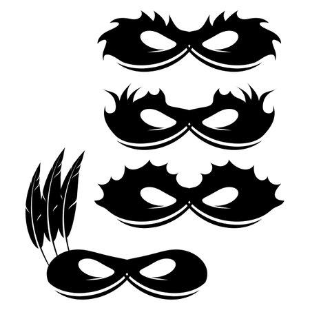 Set of Mask Icons Isolated on White Background.