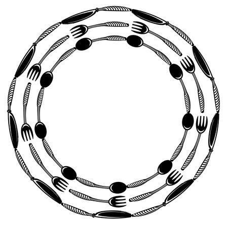 Food Frame for Cafe. Fork Spoon Knife Logo Design Isolated on White Background.