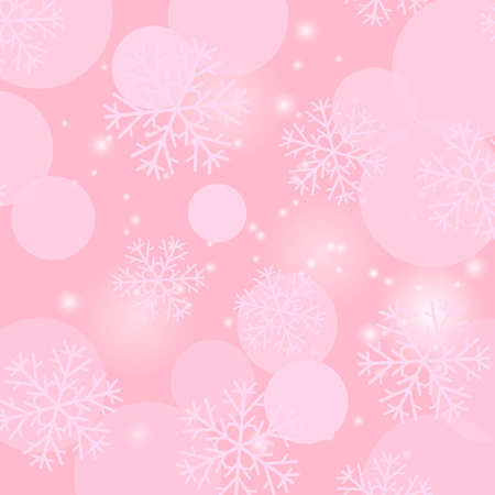 Snowflakes Seamless Pattern on Pink Background. Winter Christmas Decorative Texture. 矢量图像