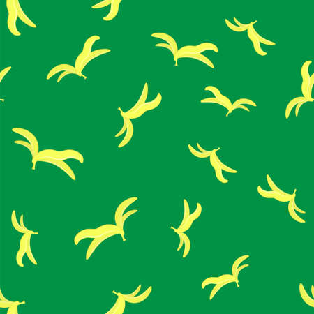 Yellow Banana Skin Seamless Pattern Isolated on Green Background.