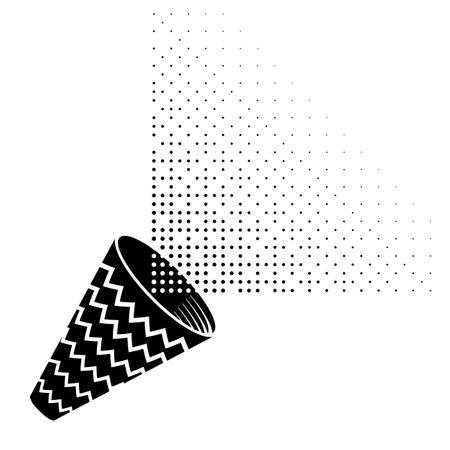 Black Confetti Icon Isolated on White Background.