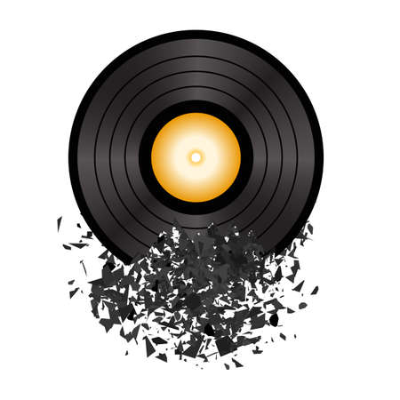 Retro Vinyl Disc Isolated on White Background. Damaged Musical Symbol. Plastic Explode with a lot of Patrts. Explosion with Particles.
