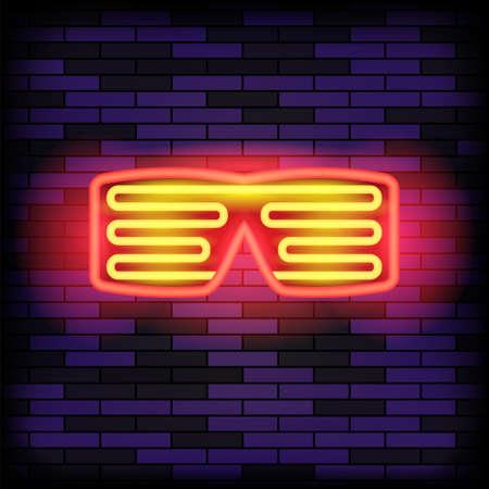 Heon Glasses on Blue Brick Background. Stylish Gadget for Night Club. 矢量图像