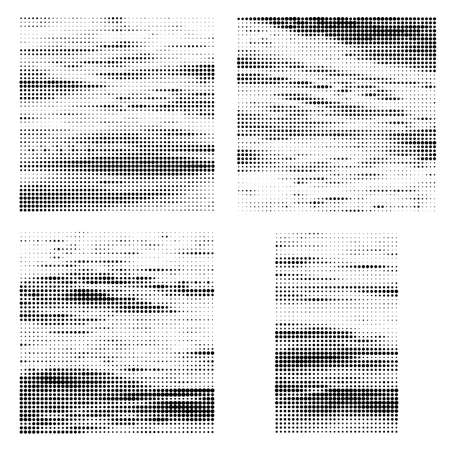 Halftone Pattern. Set of Dots. Dotted Texture on White Background. Overlay Grunge Template. Distress Linear Design. 矢量图像