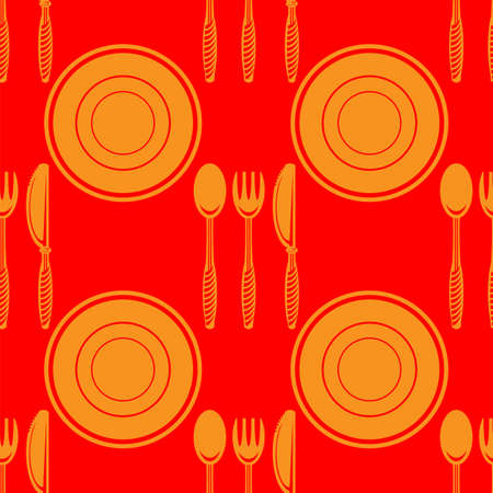Food Seamless Pattern for Cafe. Fork Spoon Knife Logo Design Isolated on Red Background 矢量图像