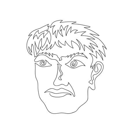 One Continuous Line Drawing Man Portrait. Head Icon. Elegant Hairstyle. Modern Minimalistic Style. Fashion Print