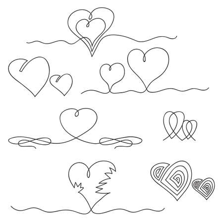 One Continuous Line Drawing Heart Icon. Symbol of Love. Elegant Wedding Doodles. Valentine Day Print