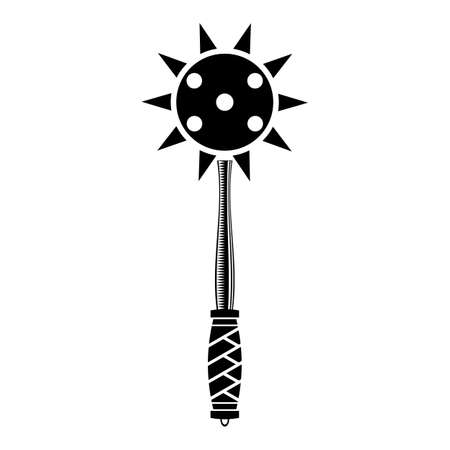 Medial Weapon Isolated on White Background. Spiked Metal Ball Icon