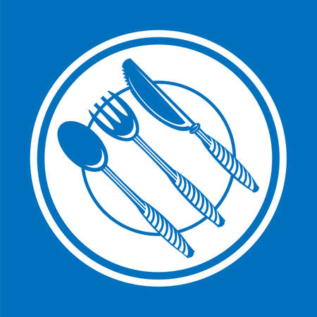 Food Icon for Cafe. Fork Spoon Knife   Design Isolated on Blue Background 矢量图像