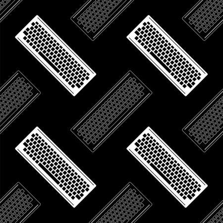 Computer Keyboard Icon Seamless Pattern Isolated on Black Background. PC Buttons. Part of Desktop