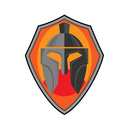 Shield and Warrior Helmet Icon Isolated on White Background