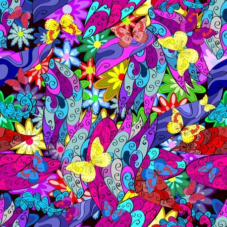 Vector nahtlose Textur mit abstrakten Blumen. Endless Hintergrund. Ethnic seamless pattern. Vector Hintergrund. Helle Muster. Sommer-Vorlage. Verwenden Sie für Tapeten, Muster füllt, Web-Seite Hintergrund Standard-Bild - 37034068