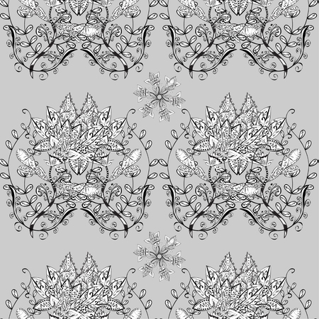 bezel: vector seamless abstract floral and flowers pattern, monochrome