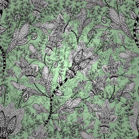 Seamless wallpaper pattern in vintage style on green background.