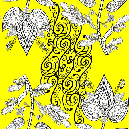 stately: vector seamless abstract floral pattern on yellow background, Illustration