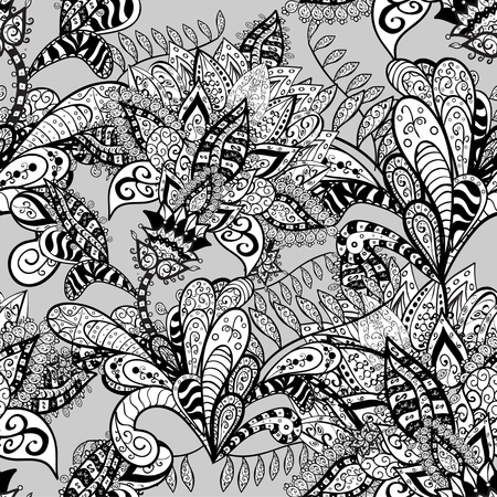 black and white doodles seamless pattern on gray background - vector illustration. EPS 10. Vector