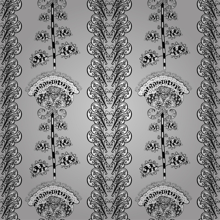 bezel: vector seamless abstract floral pattern, monochrome