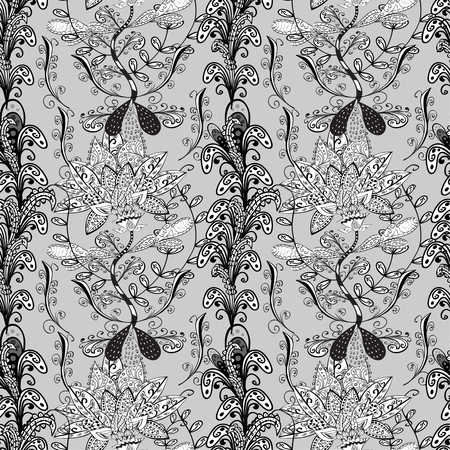 bezel: vector seamless abstract floral pattern, monochrome, grey background
