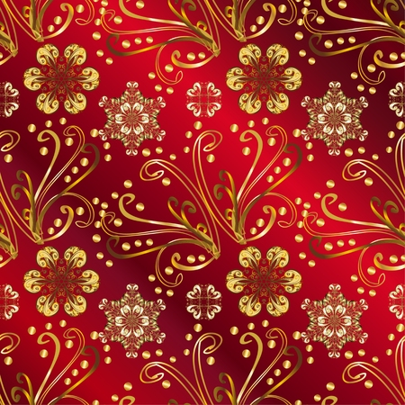 wrapping paper: Pattern on red gradient background. Vector illustration.