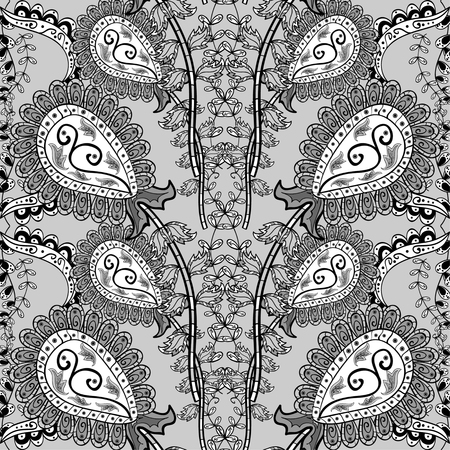 bezel: seamless abstract floral pattern, monochrome, grey background