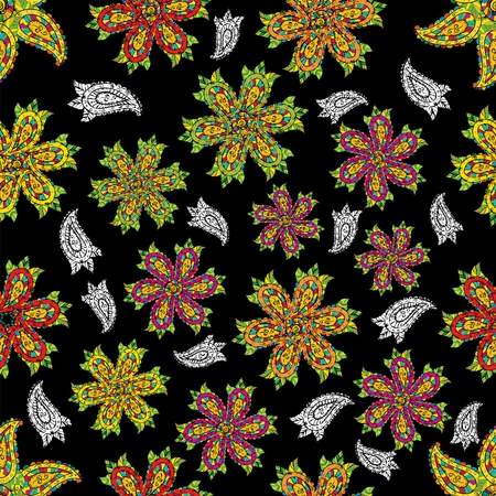 Seamless colorful doodles flower black and white paisley retro background pattern in vector Illustration