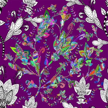 Tropical floral print. Seamless vector on lilac background. Vector